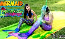 Fin-Fun-Mermaid-Slime-Bucket-Challenge---Mermaid-Slip-n-Slide